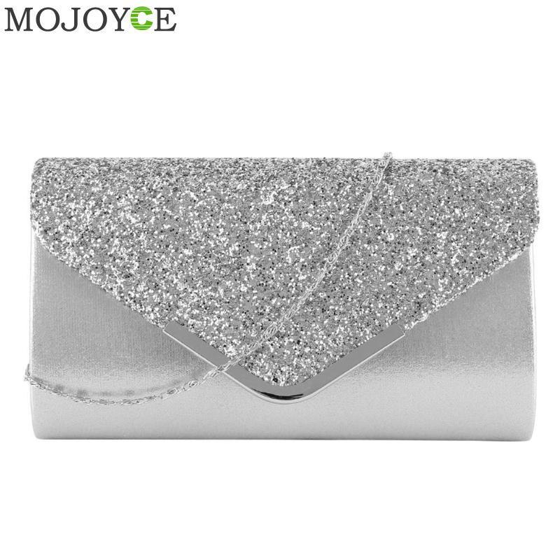 Moda Kadınlar Gece Çantası PU Deri Debriyaj Pullarda Para Zarf Çanta Glitter Zincir Omuz Crossbody Bayanlar Küçük Çanta