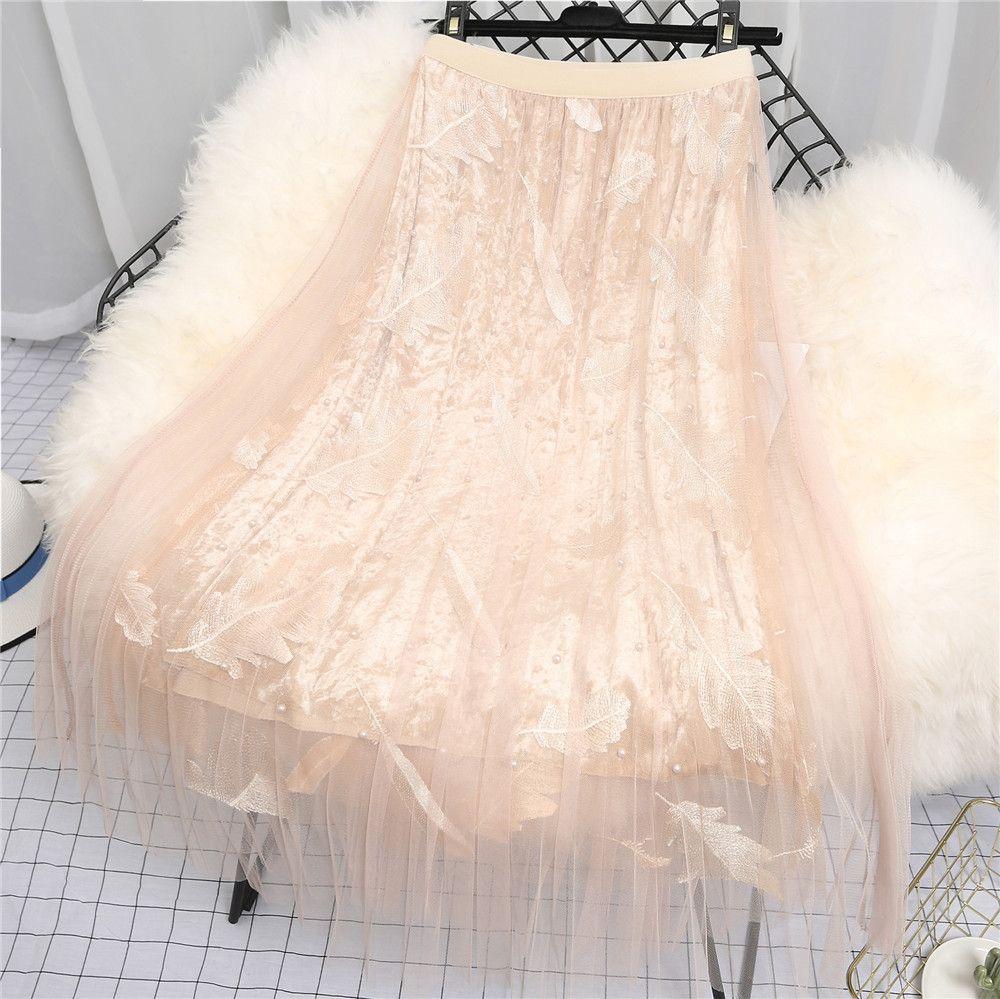 industria C0Gp3 moldeado pesado malla mitad de la longitud de terciopelo oro 2019 primavera y otoño alta cintura pluma bordado plisado Beads plisada falda fa