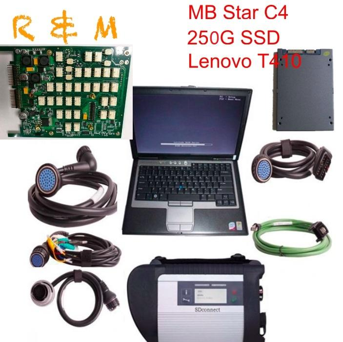 MB star SD connect scanner C4 Star Diagnosis with Newest 250GB SSD + Lenovo T410 Laptop 4GB Memory Software Install Ready to Use