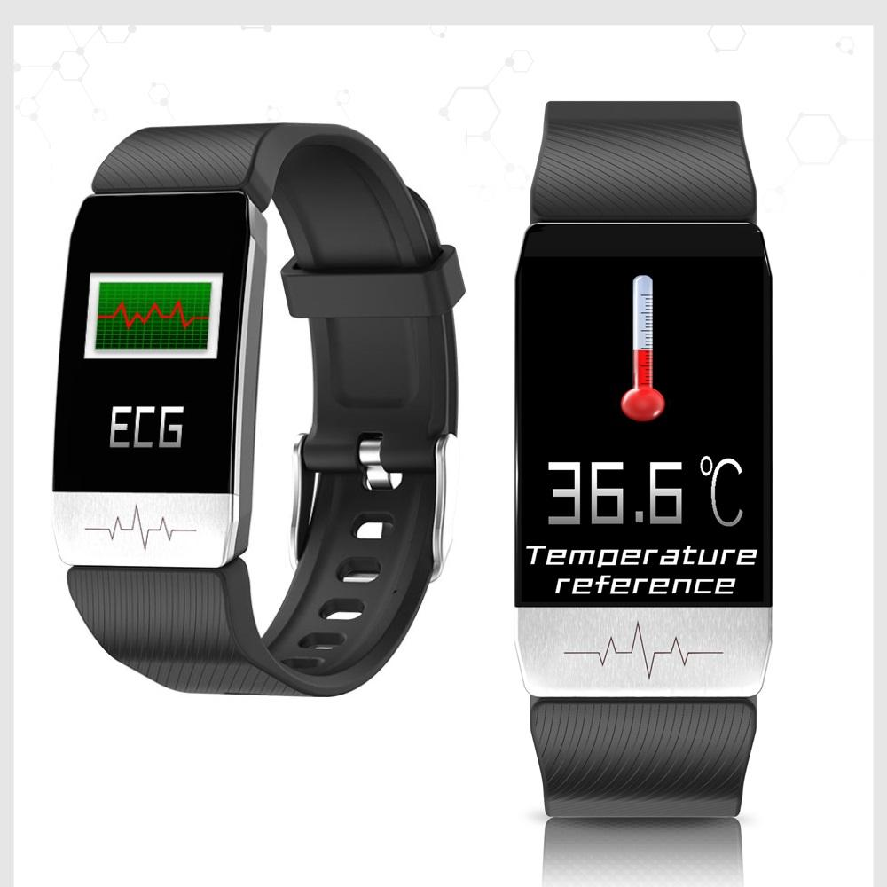 T1 스마트 손목 시계 남성 여성의 온도 측정 ECG 심장 박동 혈압 모니터 일기 예보 음주 알림