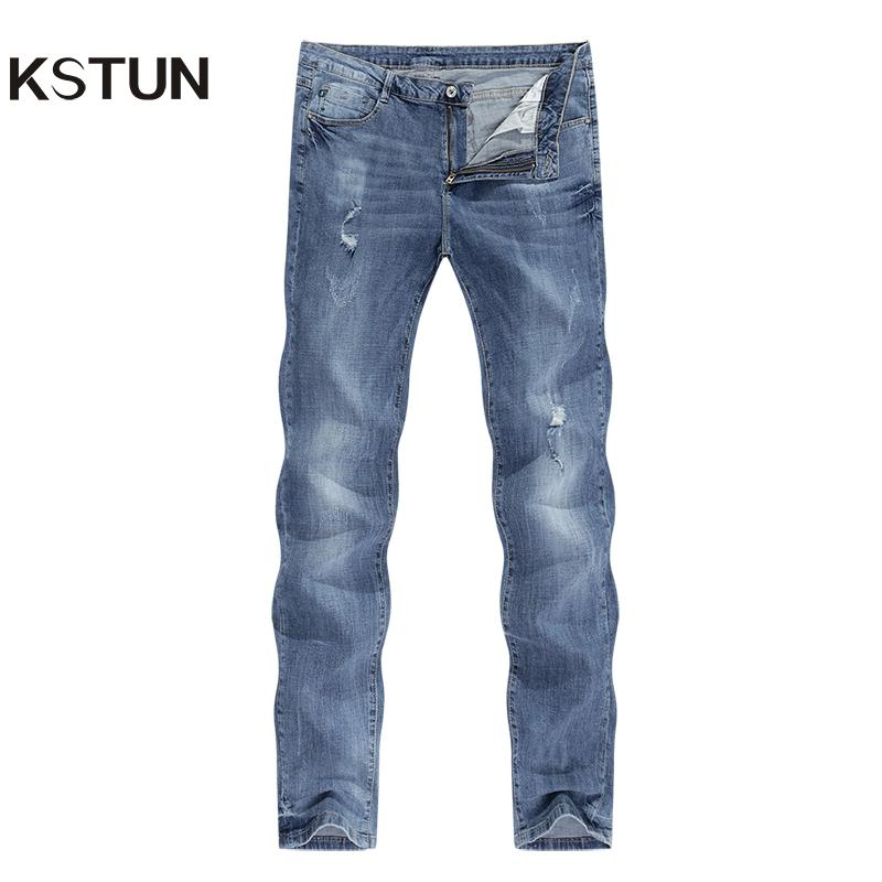 KSTUN jeans rotos Hombres Stretch Light Blue Man ultrafino apenada Rip Jean del ajustado de Hip hop casuales pantalones de mezclilla vaqueros masculinos del motorista