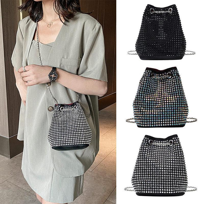 Mini-Leder-Ketten Shouler Tasche Solid Color Messenger Bags Kristall-Dekor-Bucket Umhängetaschen für Frauen 2020 Sac A Haupt Femme