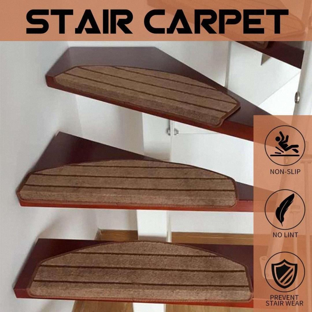Conjuntos Moda Stair Carpet resistência ao deslizamento Stair Tread Mats Passo tapete para 65X27cm Fit For 25 centímetros Largura Pad bUr5 #