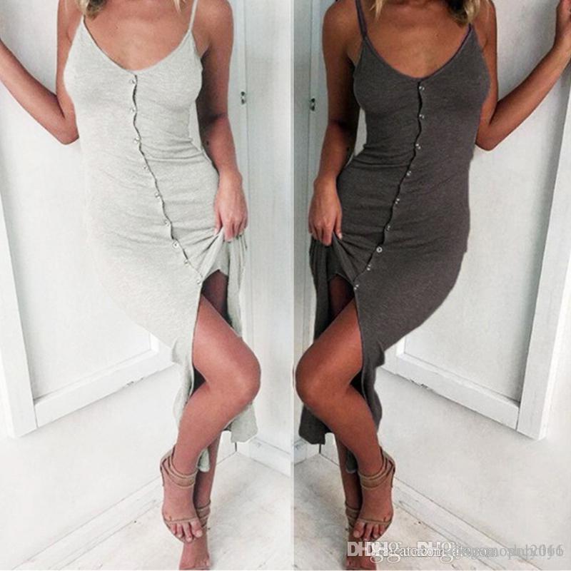 Donne sexy Spalla giubbotto senza spalline maniche prima Pulsante Split signora elegante aderente della vita pannello esterno lungo abiti casual formato S-XL D5