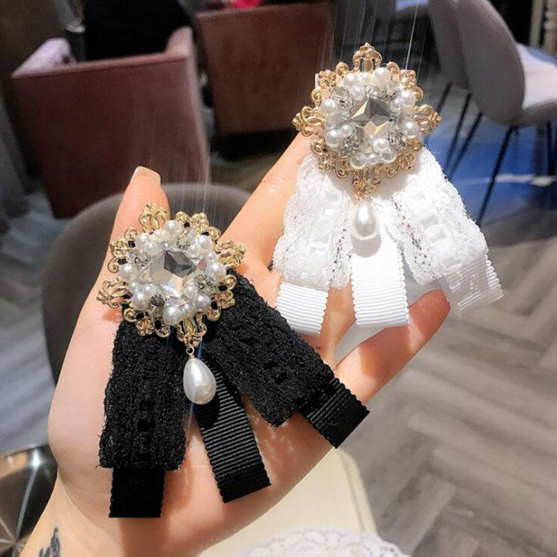 Wholesale Crystal Pearl Flower Brooches Lace Bowknot Corsage Women Suit Shirt Accessories Necktie Styles Brooch Jewelry