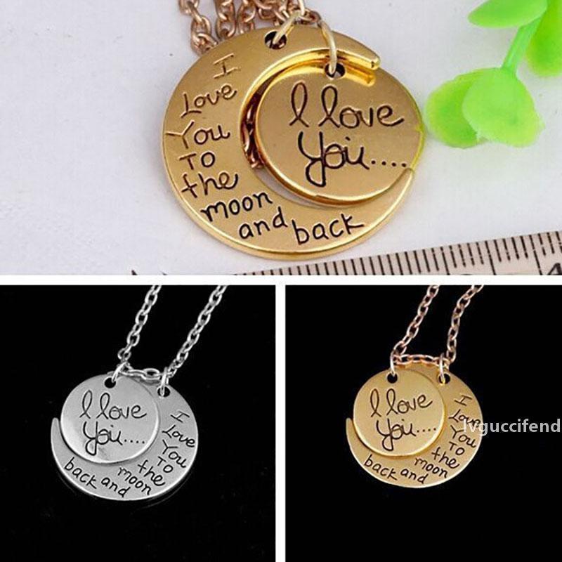 Mond-Halskette Ich liebe dich zum Mond und zurück für Mama, Schwester, Familie Anhänger-Verbindungs-Ketten-Party Favor Geschenke Freies DHL WX9-1230