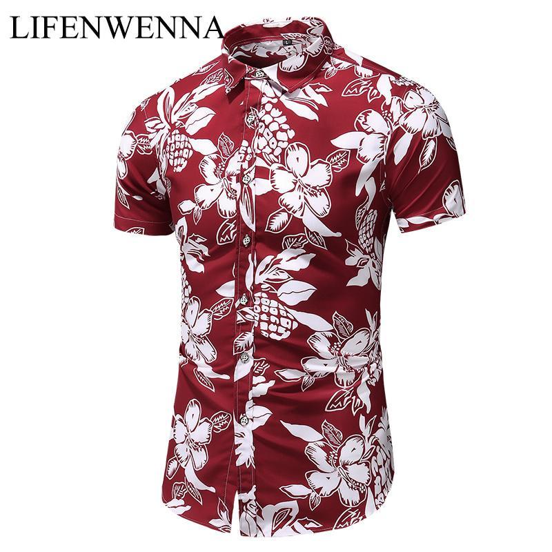 Yaz Yeni Geliş Gömlek Erkekler 2020 Moda Print Kısa Kollu Hawaii Gömlek Erkek Casual Çiçek Slim Fit Plaj Gömlekler Artı M-7XL CX200717