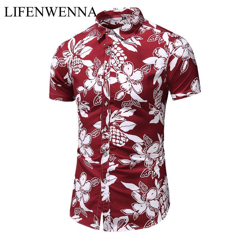 Лето нового прибытия рубашки Мужчины 2020 Мода печати с коротким рукавом гавайке мужчин случайных цветов Slim Fit Рубашки Бич Plus M-7XL CX200717