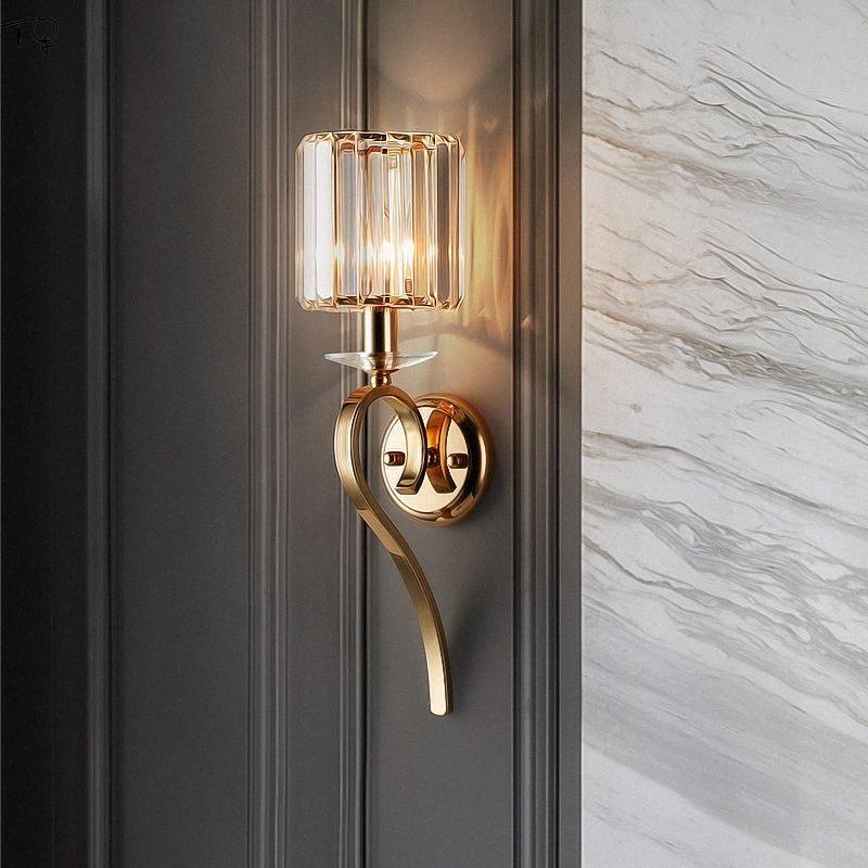 Lámpara de pared posmoderna American Crystal Oro Nordic Lustre llevó la luz de la pared de la sala dormitorio fondo de noche de las linternas MQlp #