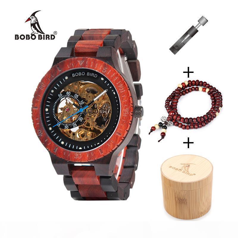 BOBO pássaro de madeira Relógio Mecânico Reloj masculino Mens Relógios Top relógios com Bead Bracelet Orologio da uomo