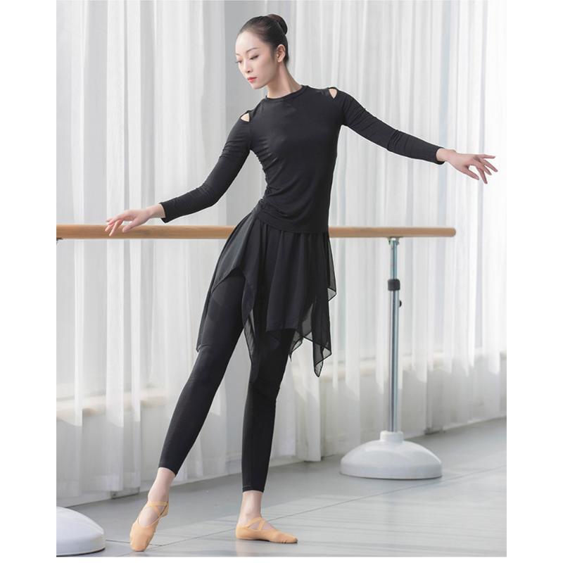 블랙 서정적 쉬폰 스커트 코튼 체조 피트니스 요가 긴 발레 댄스 바지 레깅스 여성
