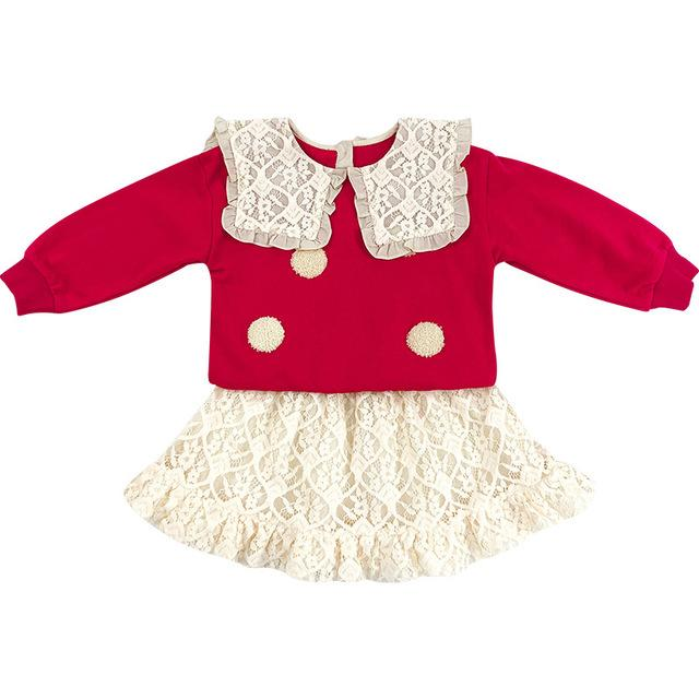Filles manches longues Tops + dentelle Skrits Tenues Automne 2020 Enfants Boutique Vêtements 1-6T Little Girls 2 PC Set Cute Fashion