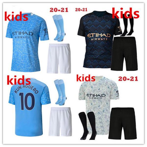 2020 2021 도시 Kun Aguero Kids Kit Sterling Mahrez 축구 유니폼 보이 예수 드 Bruyne Sane 2020/21 드 Bruyne 소년 축구 셔츠