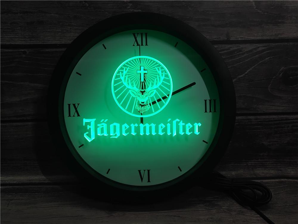 0R061 Jagermeister APP RGB LED ساعة الحائط ضوء النيون علامات