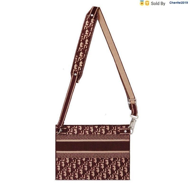 chenfei2019 7PE5 Deep Red Oblique Embroidered Canvas Clutch Bag Shoulder Bag M1292vriw_m974 Totes Handbags Shoulder Bags Backpacks Wallets