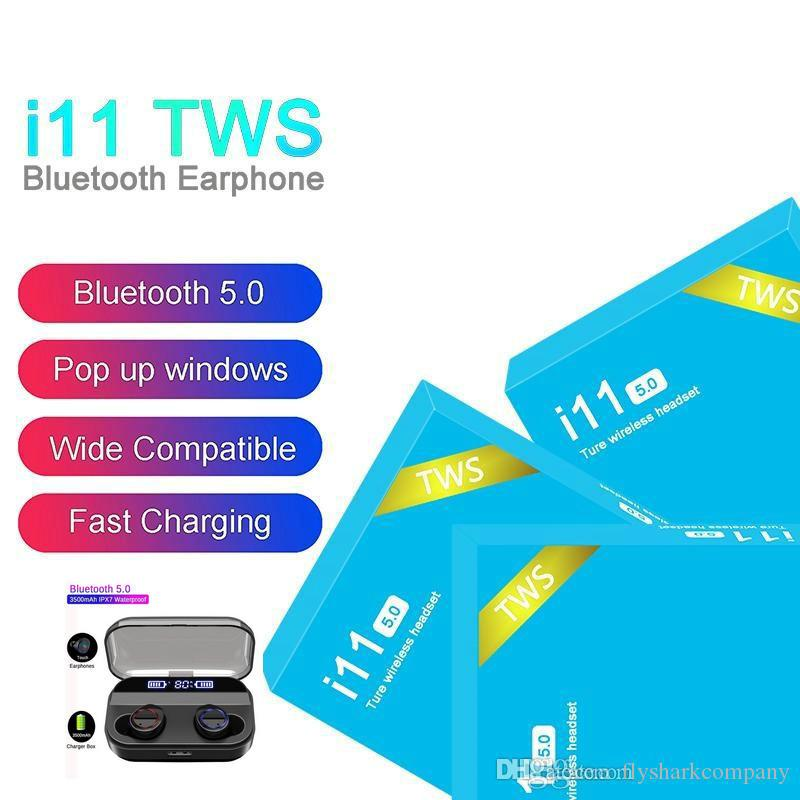 i11 TWS Wireless Bluetooth Headphones Earbuds With Pop UP Window Twins Mini Earbuds For Smart Phone i11 5.0 Touch Blue Box X11