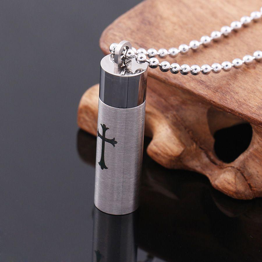 Botella de perfume colgante del acero inoxidable de la botella de diseño de ceniza gris de la manera colgante de plata de acero inoxidable de la manera colgante de la cruz