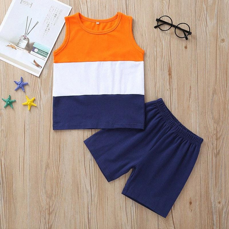 New Kid İki parçalı Kıyafet Seti Yeni Yaz Casual Erkek Bebek Moda Ekose Kolsuz Tankı Ve Sevimli Ekose Kısa Pantolon Takımı wZ4Y #