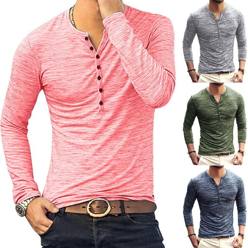 HEFLASHOR 2020 Новый Хенли футболки Мужчины Твердые Длинные рукава Мода Дизайн Тонкий кнопки вскользь Outwear Популярные T Shirt Мужской