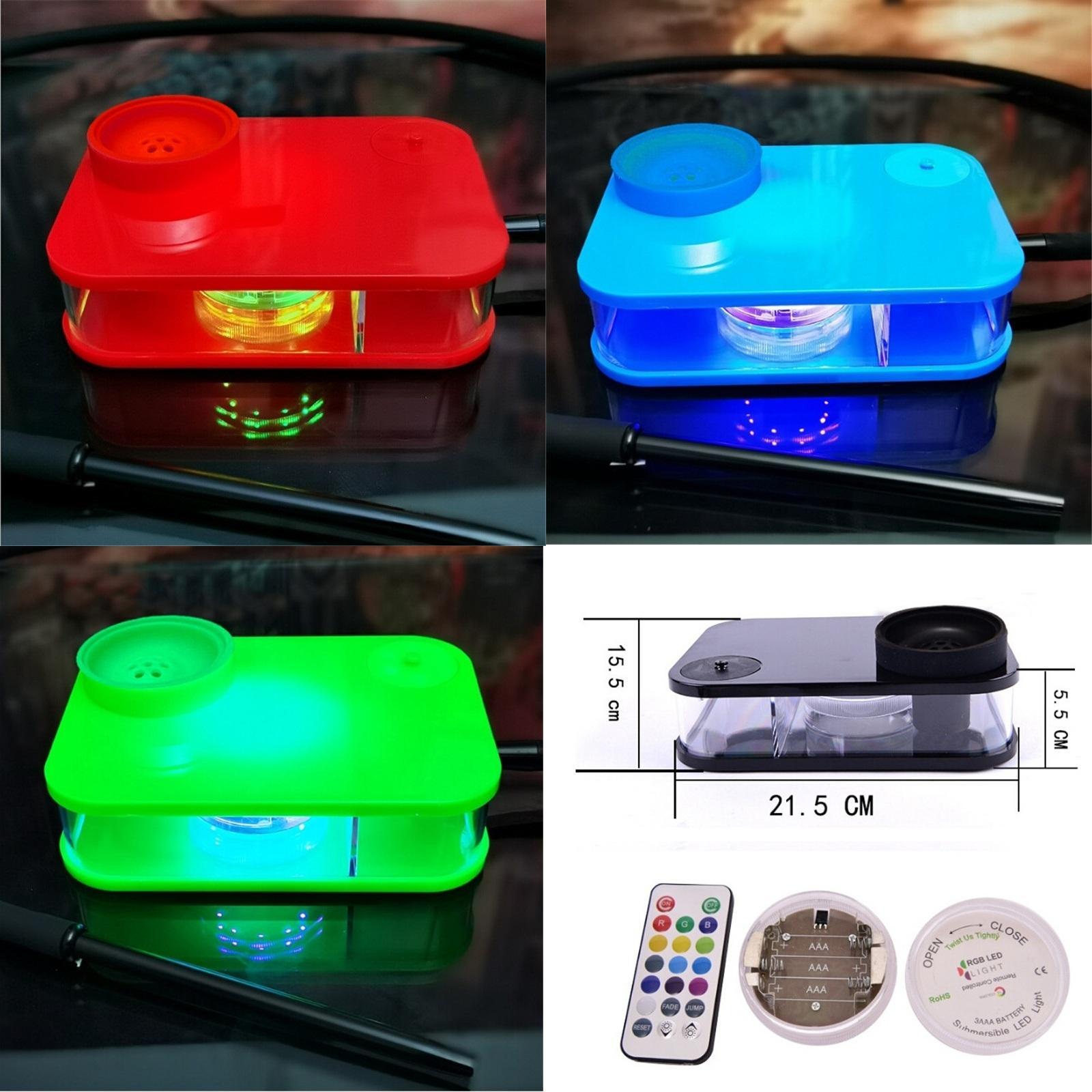 제어 가능한 LED 조명과 시샤 장치 데스크탑 담뱃대 차 세트 스타일을 살짝 조작 5 색 파티 바 Dabber 파이프