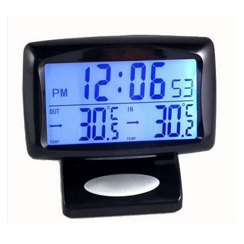 Thermomètre voiture double température à l'intérieur et à l'extérieur L'horloge électronique de voiture électronique Horloge Thermomètre lumineux