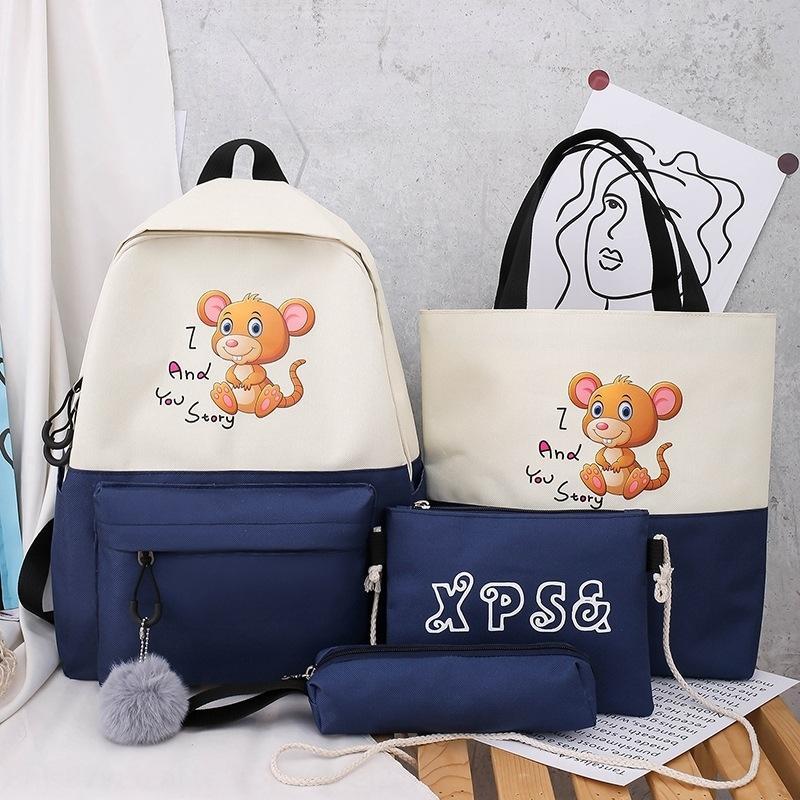 egkig personalizzato a quattro piece Il sacchetto dello zaino stile coreano per gli studenti delle scuole primarie e secondarie di quattro pezzi di moda zaino casuale