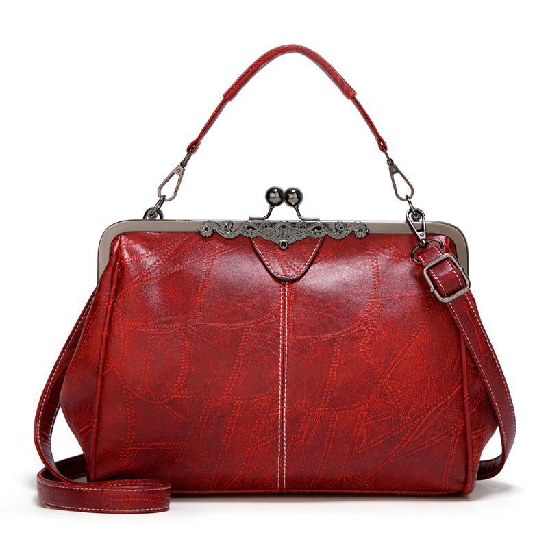 Nueva Bloqueo de la vendimia de las mujeres bolsos de estilo chino PU del diseño de las señoras de cuero Bolsa de hombro femenina adolescente bolso de Crossbody