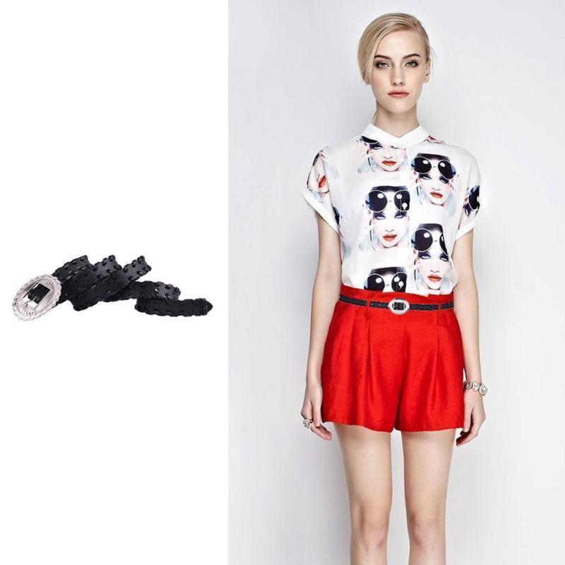 Charm Lady Kemer Saf Siyah PU Suni Deri Kemer Moda Vahşi Trend İnce Kemerler Elbise Giyim Süsleri