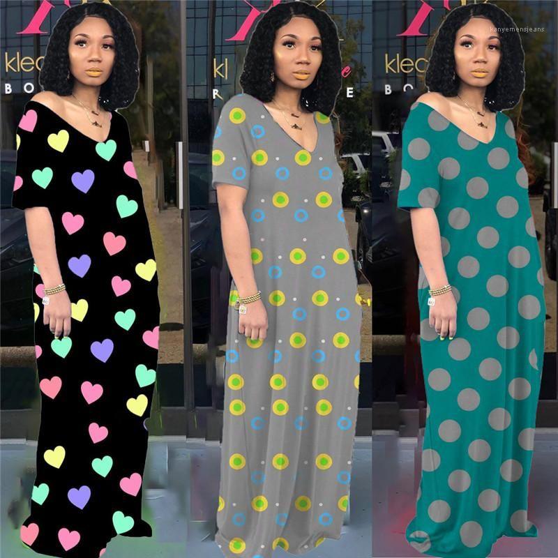 Scoop Neck Maxi Dresses Fashion Polka Dot Printed Womens Clothing Summer Womens Designer Casual Dress Loose