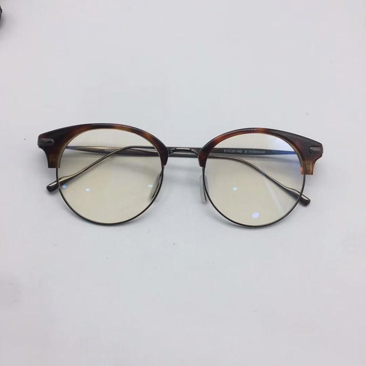 2020 KOREA-STAR Retro-vintage semi-half glasses frame plank+B-titanium female round frame51-20-145prescription glasses full-set case OEM