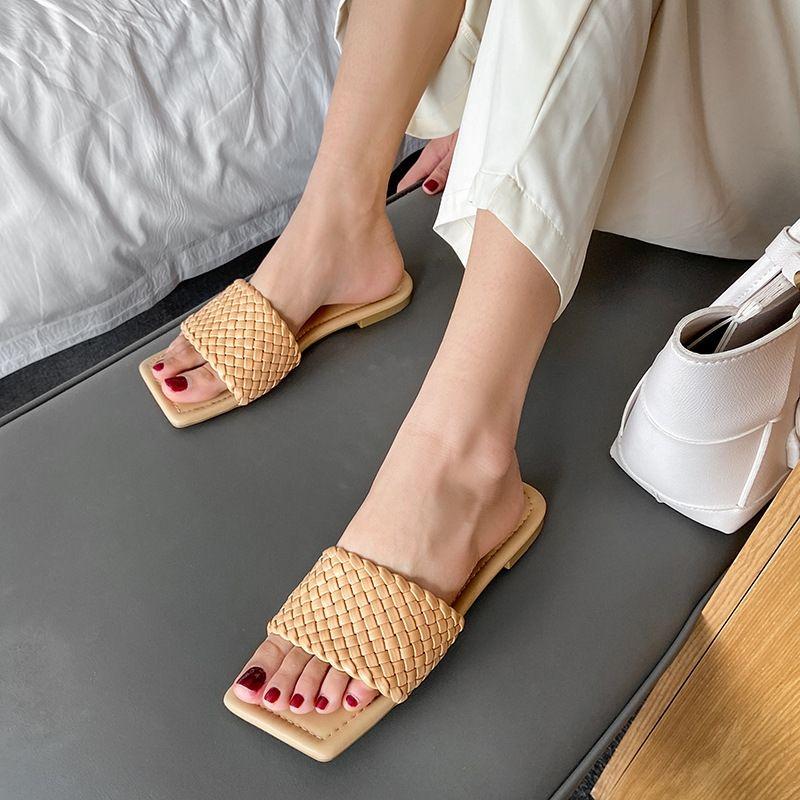 6TDp6 tessuto semplice celebrità tessuto dolce dolce Muller quadrato testa BV Nuovo Internet Celebrity BV pantofole nuove semplice Internet Muller squa GEqoW