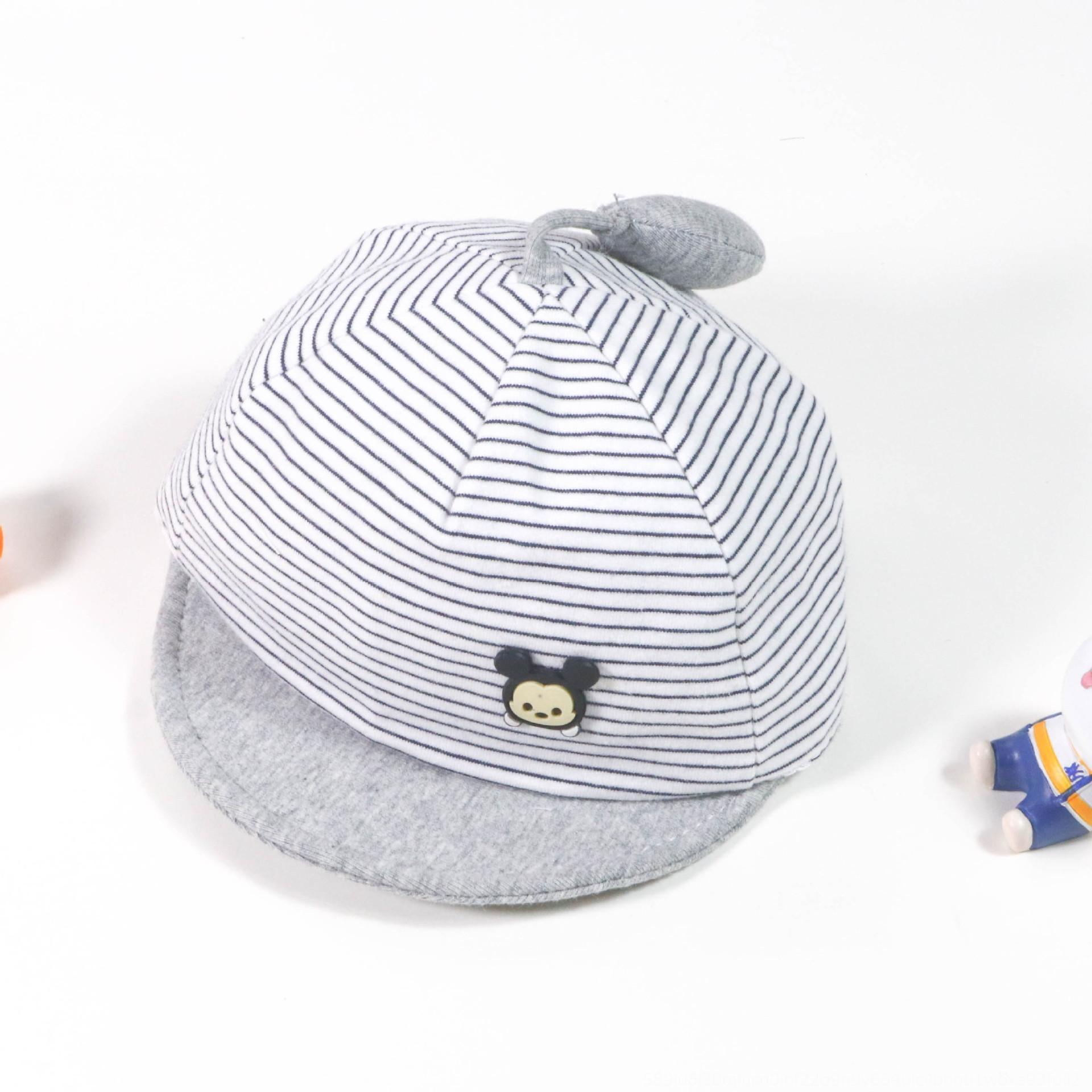 Neue Karikatur gestreifter Hut Fetal Baby babyweich Traufe Baumwollkappe neugeborene nette Art und Weise kurz Traufe Reifen Kappe