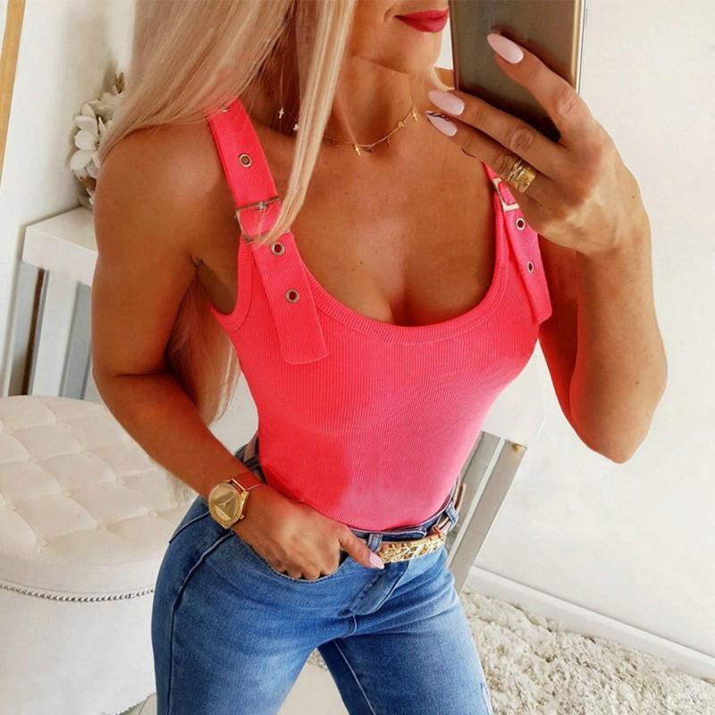 em forma de U Low-cut Collar das mulheres Vest 2020 Hot Summer Sale Magro cor sólida Camisole selvagem na moda malha Regatas Feme 0iFV #