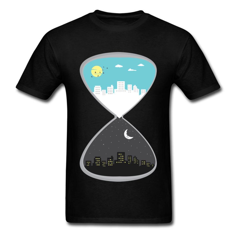 Creativa Día Noche de reloj de arena Ciudad Sol y la Luna de dibujos animados Diseño Hombres más Camisetas del cuello de O-camiseta de algodón de manga corta