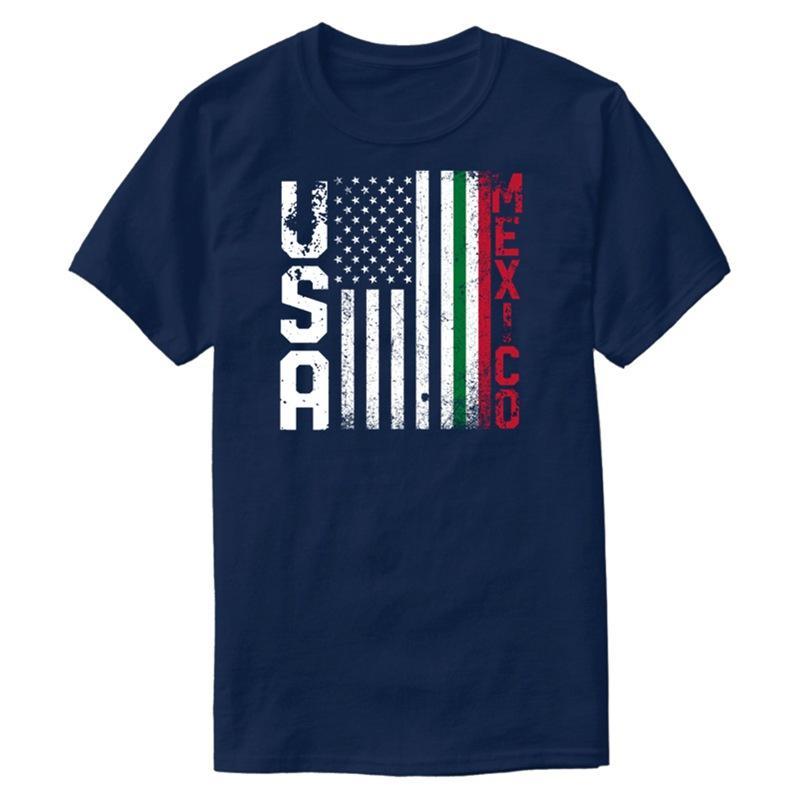 Трикотажное Sunlight США Мексика Флаг Tshirt Для мужчин Хлопок Cute Мужской Comic мужчины и женщины футболки с коротким рукавом Hip Hop