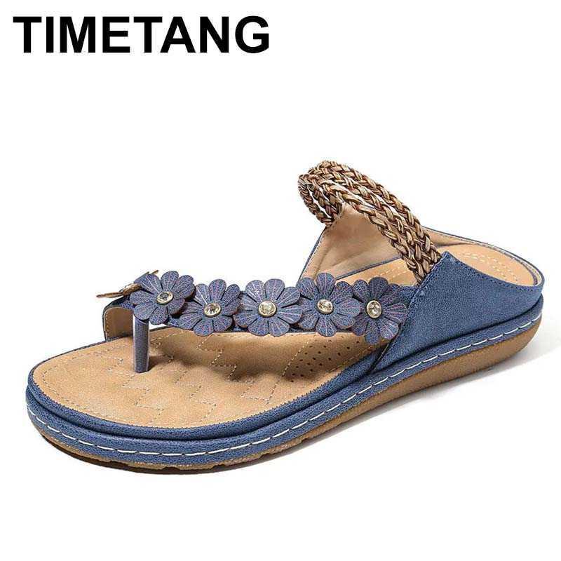TIMETANG 2020 sandalias planas del verano para las mujeres 3 colores flores multicolores sandalias de cuero de la PU retro tangas mujeres florales zapatilla