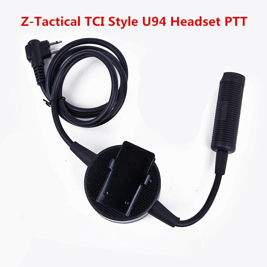 Element Z-Tactical TCI Style U94 Headset PTT for 2-way Version Pins Radio Headset Airsoft Tactical Headset Z114-Black Walkie