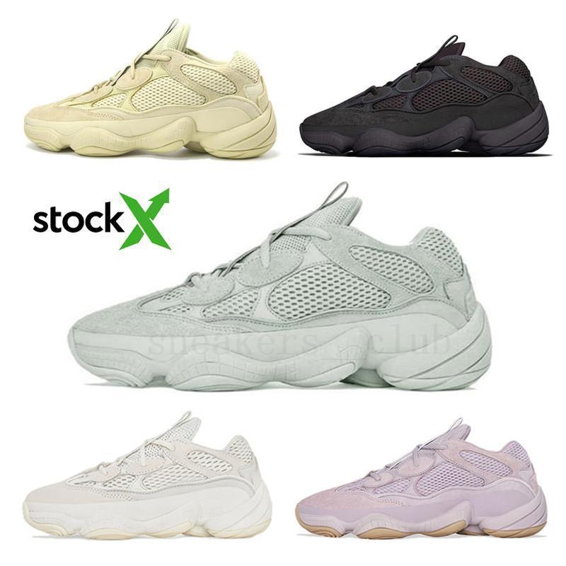 Top qualité 2020 New Stone Vision douce Kanye West Desert Rat 500 Hommes Femmes Chaussures de course os fard à joues blanc Sport Chaussures de sport avec la boîte