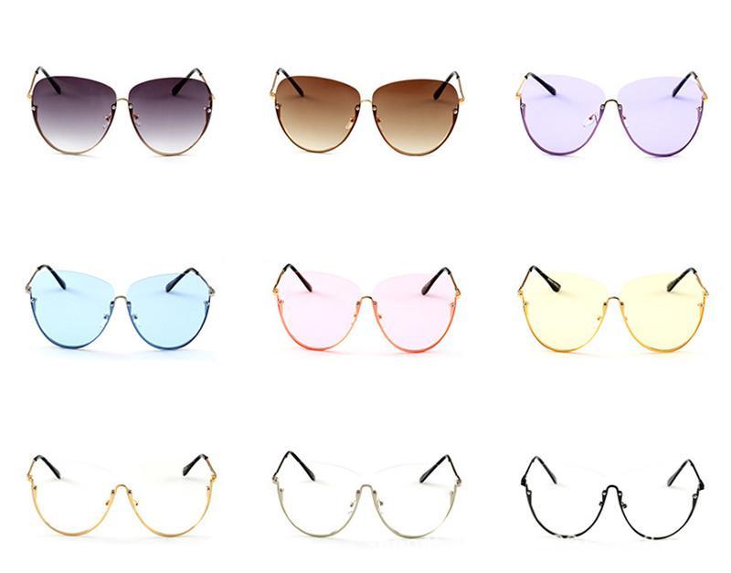 Più nuovo di modo trasparente Sun ovale Vintage Metallo Donne di Sunglasses Oversize Occhiali da sole Ship Brain Free Semi Shades Occhiali da vista senza montatura Occhiali da vista 2020 xbfgv