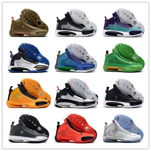 Nuove 2020 Jumpman 34 XXXIV Nero Arancione Nero Bianco Luna 33 colori pattini di pallacanestro 34s Verde Viola Black Cat Platinum Men Sneakers Sport
