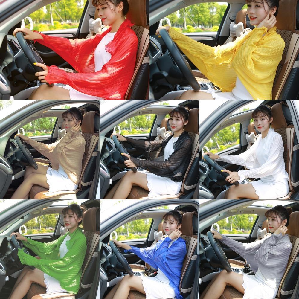 Geprägte gekräuselten Schal fester Farbe Schal Chiffon Schalfrauen fahren Fahrrad Fahrradkleidung Sonnenschutz Kleidung Sonnenschutz Hülse