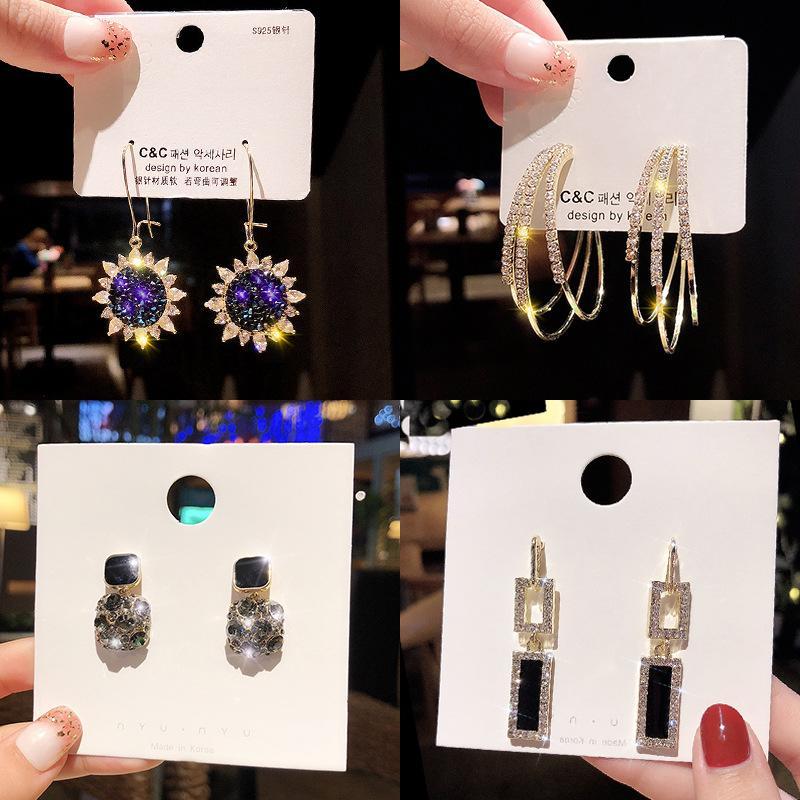 패션 여성 925 실버 바늘 디자이너 귀걸이 한국어 스타일 따라 다니다 귀걸이의 술 아크릴 고급 귀걸이 jewlery를 도매