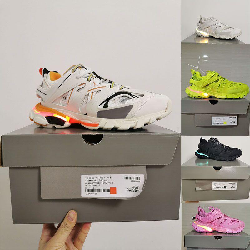 Sapatos Triples-S LED Branco 3M Triple S Faixa 3.0 Sapatos Running Liberar 3 Tess Gomma Maille Jogging Sapatos Esporte Sneaker Tamanho 36-45