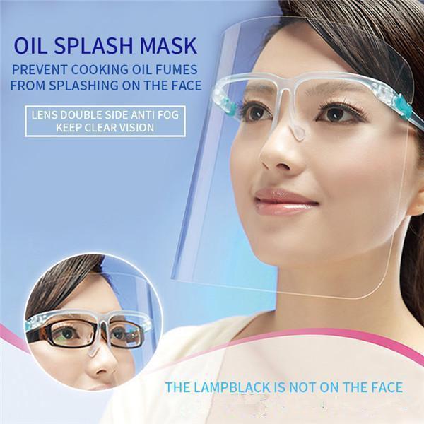 US STOCK, protecteur transparent écran facial Masque écran en plastique pleine protection face à un isolement Masque anti-buée huile de protection Masque Bouclier Chapeau