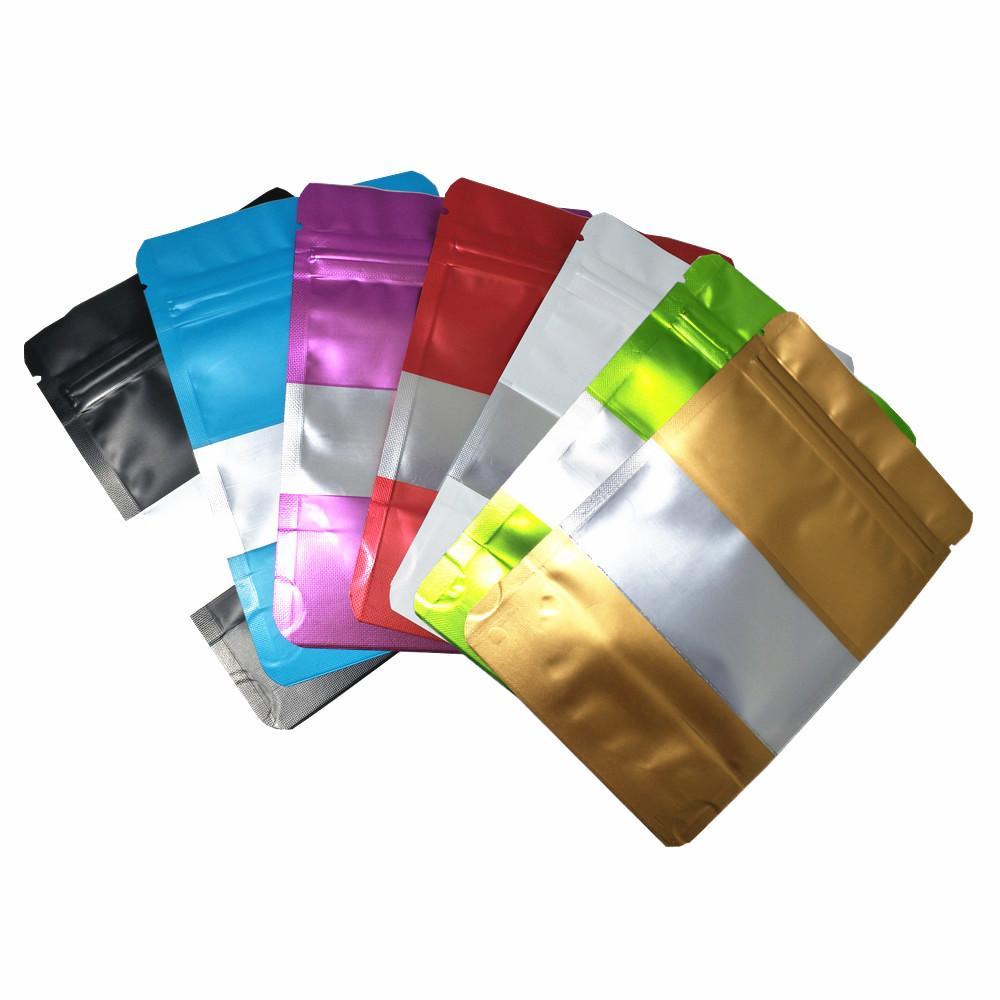 100pcs / lot Matte Stand Up Folha de alumínio Snack Zip fechamento Embalagem Saco com Janela Flor Dry Tea Mylar Foil sacos de armazenamento