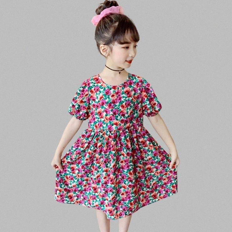Casual Costume Vestito con motivo floreale Summer Girl Dress Girl Child O del collo del partito per bambini per le ragazze 6 8 10 12 14 BSRA #