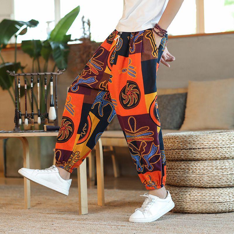 Baggy Cotone Lino Harem Pantaloni Uomo di Hip-hop delle donne Plus Size Pantaloni a gamba larga Pantaloni epoca lungo PANTALONES 2020 SA-8