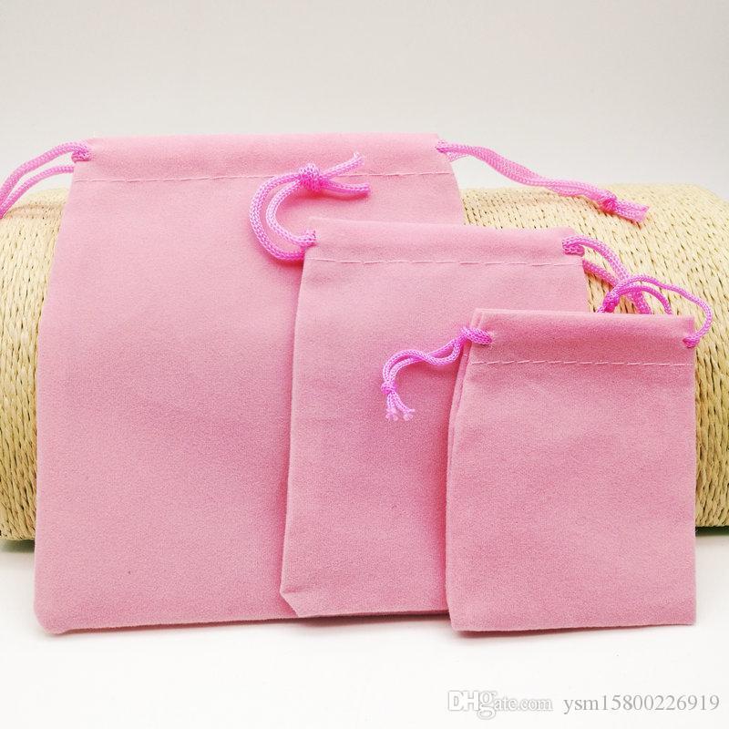 Üç boyutlu (5 * 7 CM / 7 * 9 CM / 10 * 12 CM) kadife İpli çanta çanta / toptan takı çantası Noel / düğün hediye çantası pembe 75 PCS