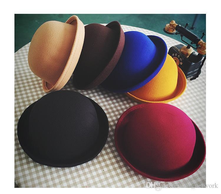 Nette multi Frauen um Top Hüte Mode britischen geizig Krempe Hüte Paare Jazzhut Gewelltes Filzkappe Eltern-Kind-Kappen 15 Farben