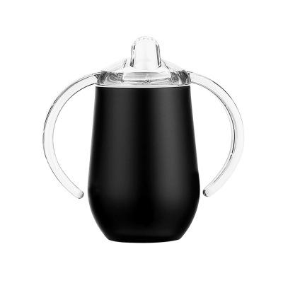 10oz Sippy Cup Stainless Steel wine glasses Double Handles Egg Cups Sucker Cup Double Wall Vacuum Insulated Flask EEA1729 20pcs